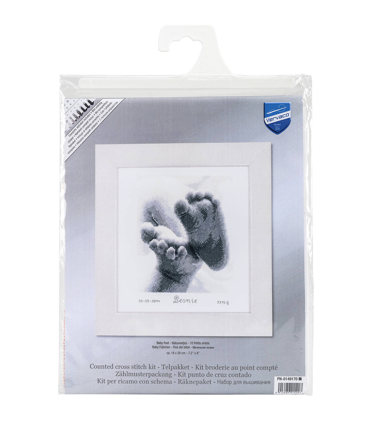 Vervaco Birth Record On Aida Counted Cross Stitch Kit-Baby Feet