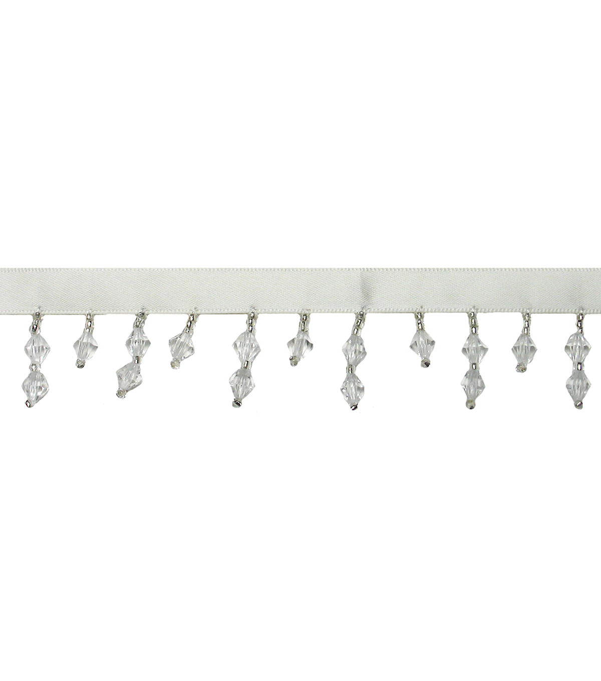 Antique Ribbon Trim With Bead Fringe 3/8\u0022-White