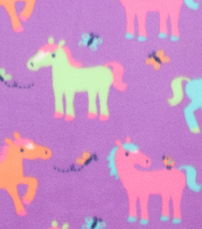 Blizzard Fleece Fabric -Colorful Ponies
