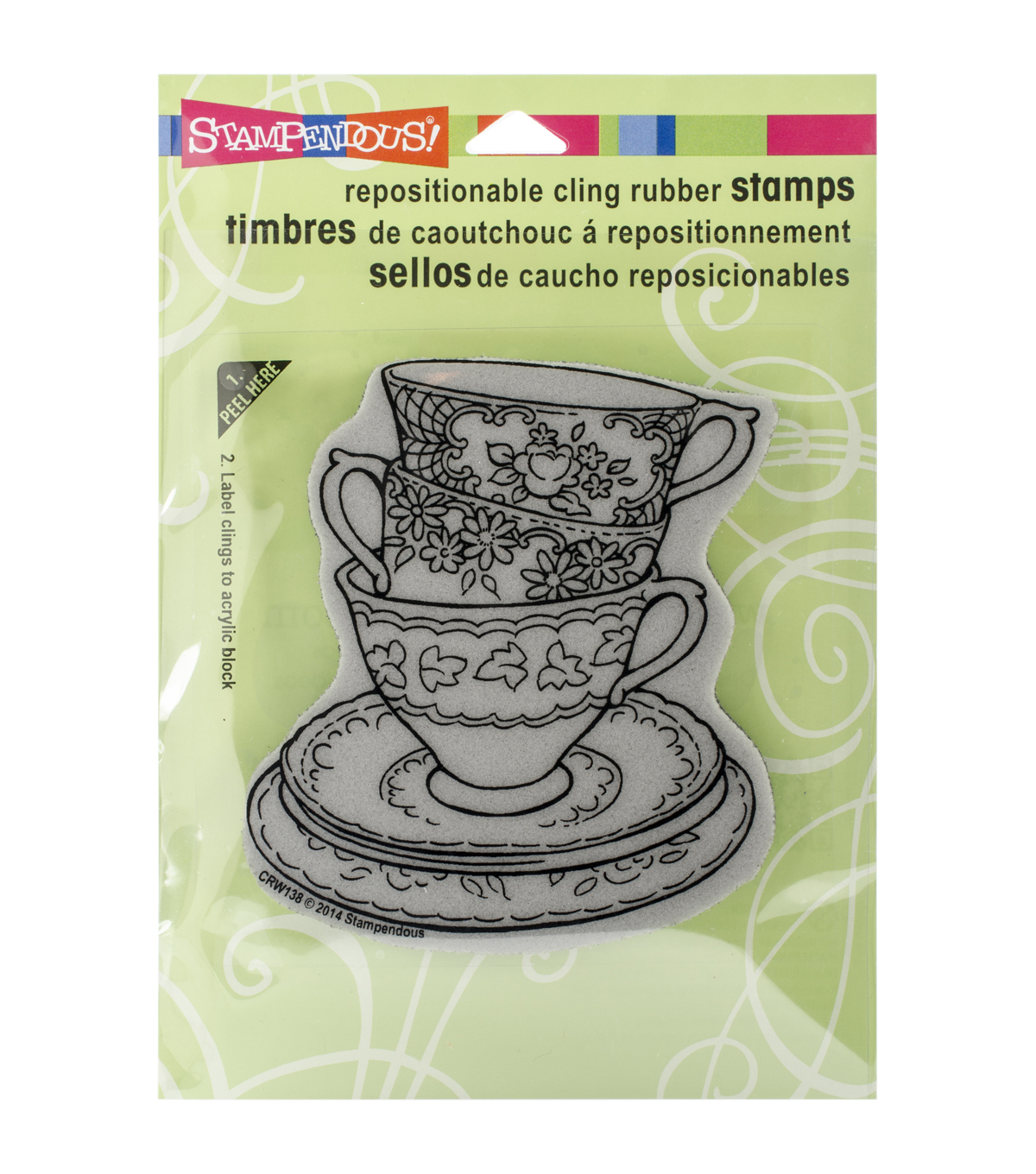 Stampendous Teacup Trio Cling Rubber Stamp Sheet