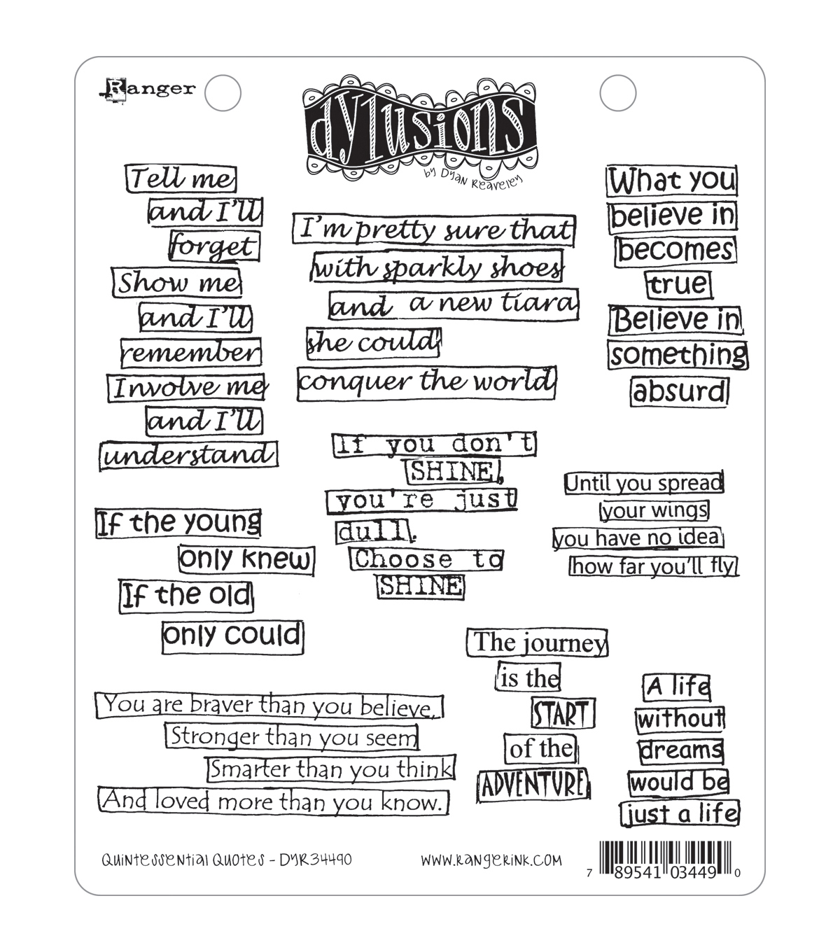 Dyan Reaveley\u0027s Dylusions Cling Stamp Collection-Quintessential Quotes