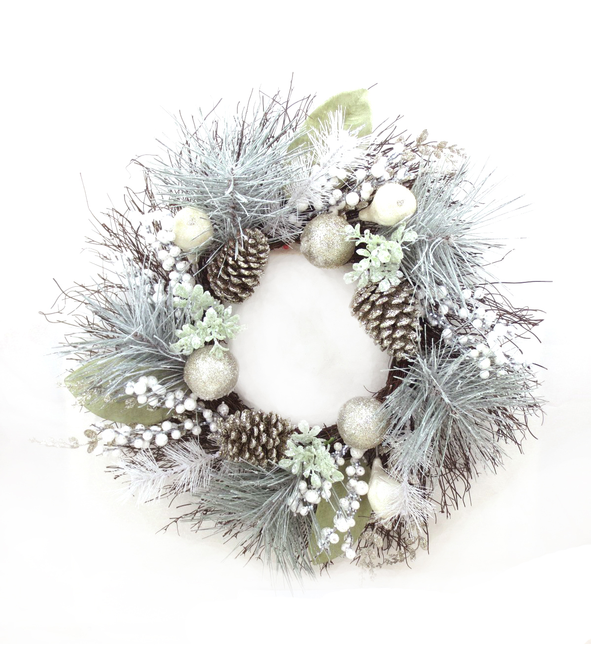 Blooming Holiday 24\u0027\u0027 Champagne Ornament, Pinecone & Frosted Pine Wreath