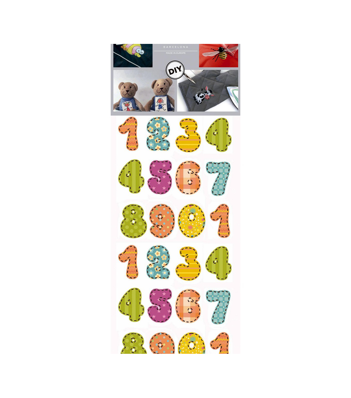 Decorprint Textil Transfer 3.75\u0027\u0027x7.75\u0027\u0027 Fabric Iron-on Sheet-Numbers