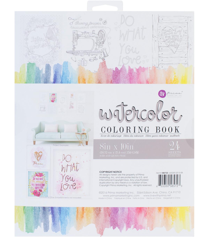 Prima Marketing 24 Sheets 8\'\'x10\'\' Watercolor Coloring Book-Decor ...