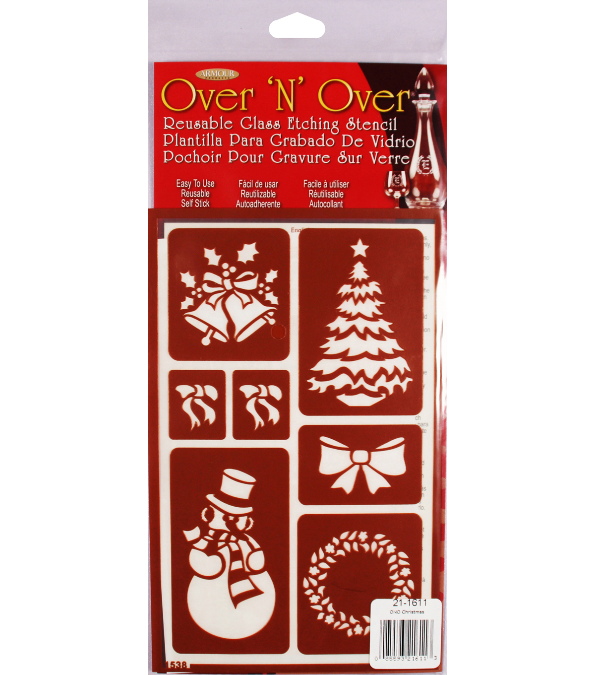 Armour Products Over \u0027N\u0027 Over Reusable Stencil 5\u0027\u0027x8\u0027\u0027-Christmas