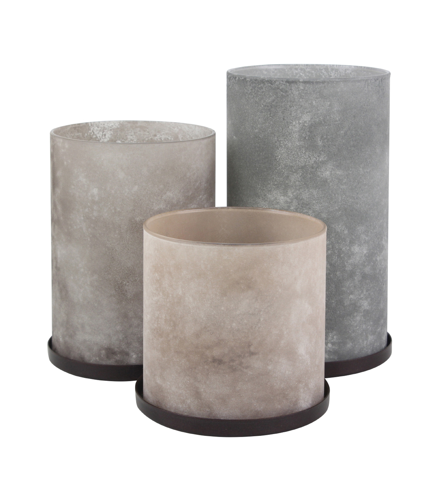 Hudson 43 Trio Frosted Hurricane Candleholders-Gray