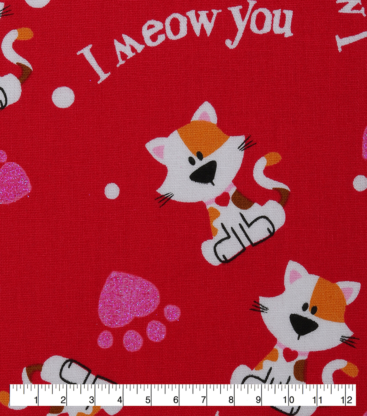Valentine\u0027s Day Cotton Fabric-I Meow You & Glitter on Red
