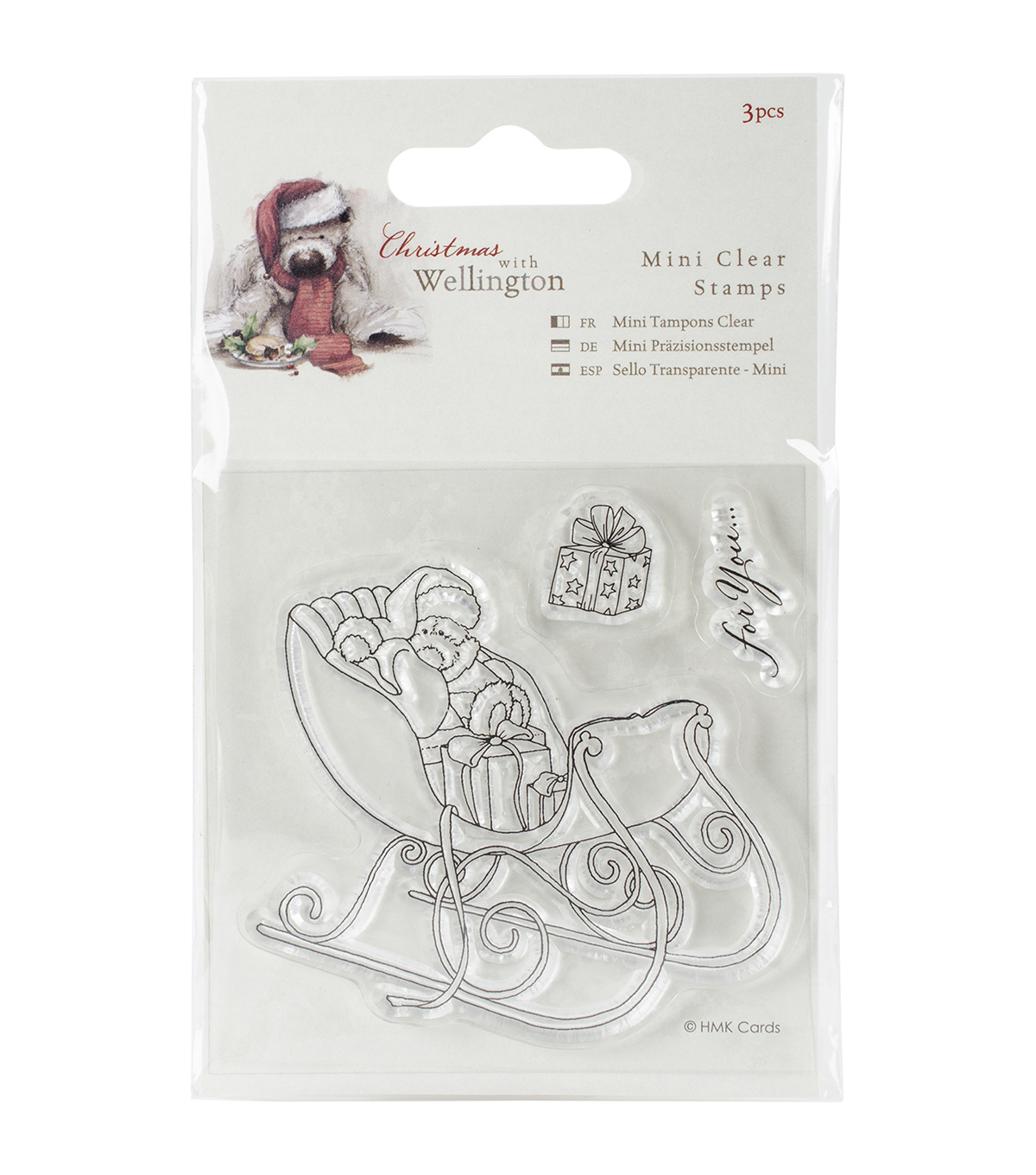 Docrafts Wellington Christmas Mini Clear Stamps-Sleigh