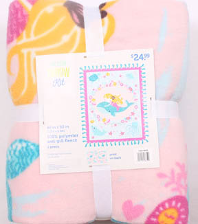No Sew Fleece Throw 48\u0022-Mermaid