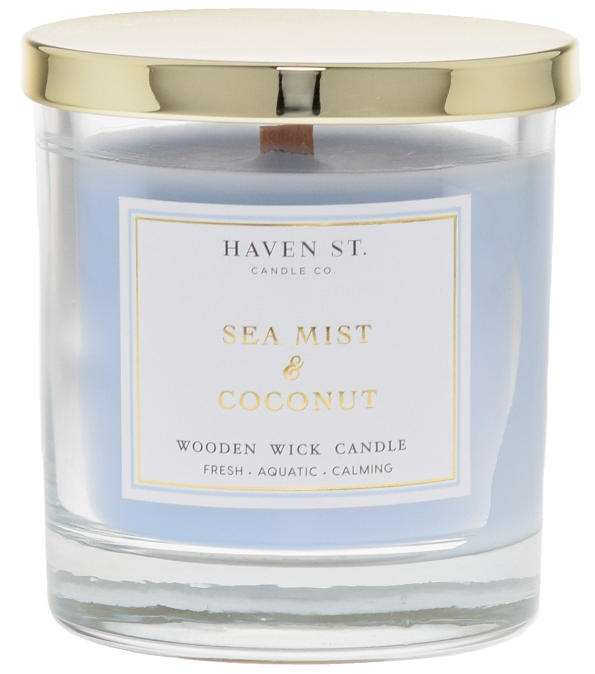 Haven St. 8oz Wooden Wick Jar Candle-Sea Mist/Coconut