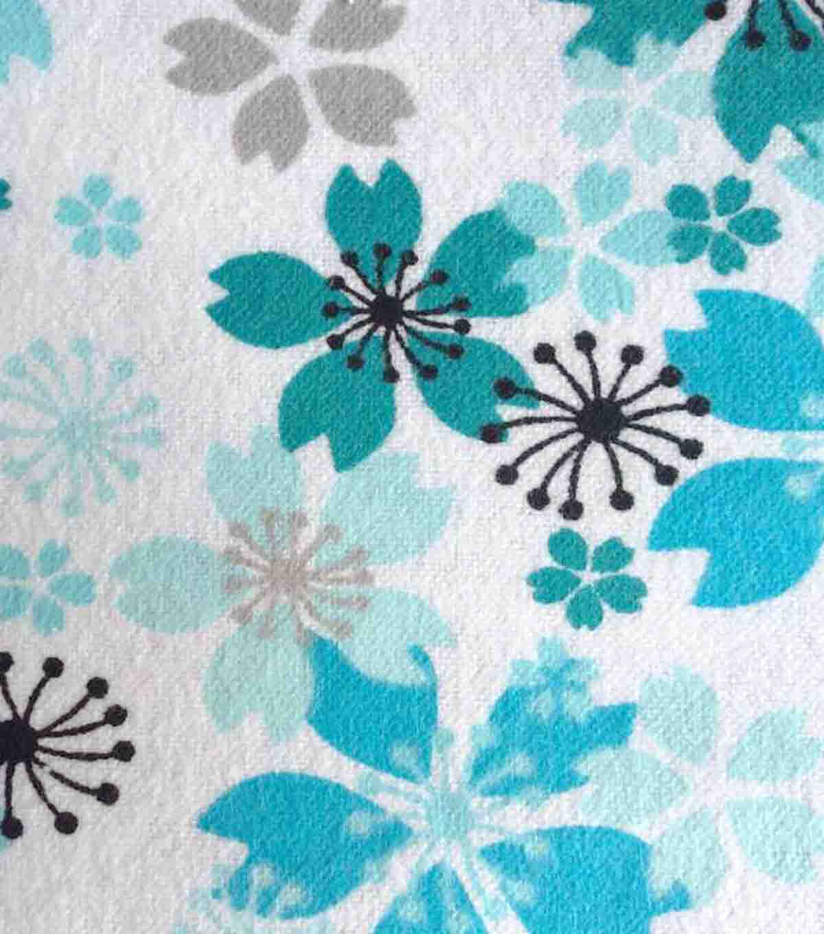 Snuggle Flannel Fabric -Blue Pinwheel Floral