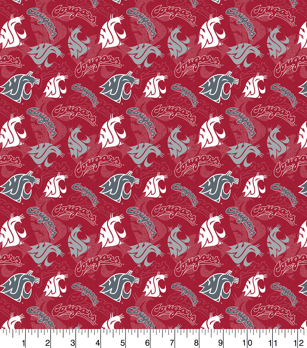 Washington State University Cougars Cotton Fabric-Tone on Tone