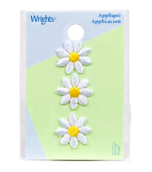 Wrights Iron-On Appliques-White Daisies 5/8\u0022 3/Pkg