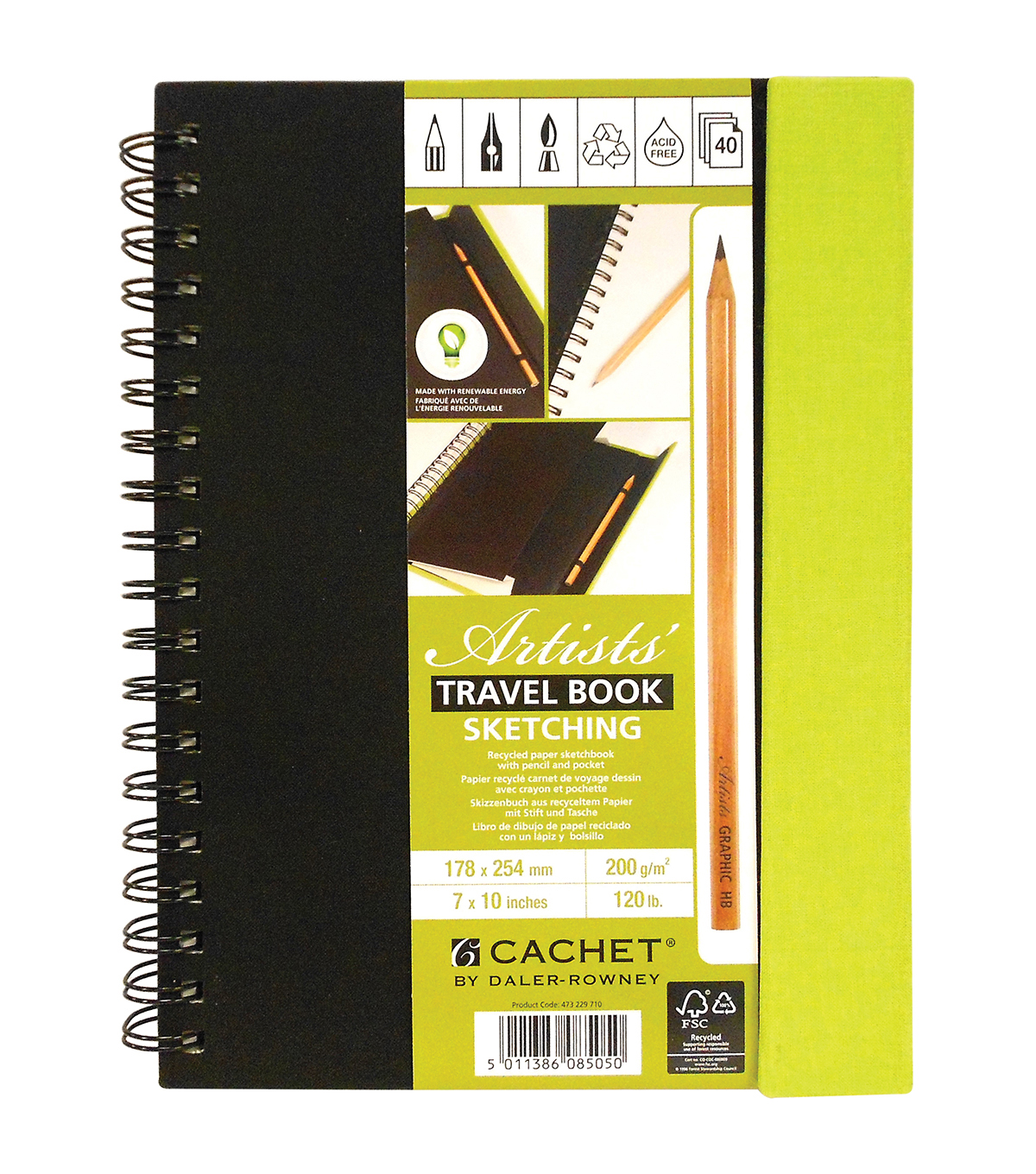 Cachet Travel Sketch Book with Pencil 7\u0022X10\u0022-120lb 40 Sheets