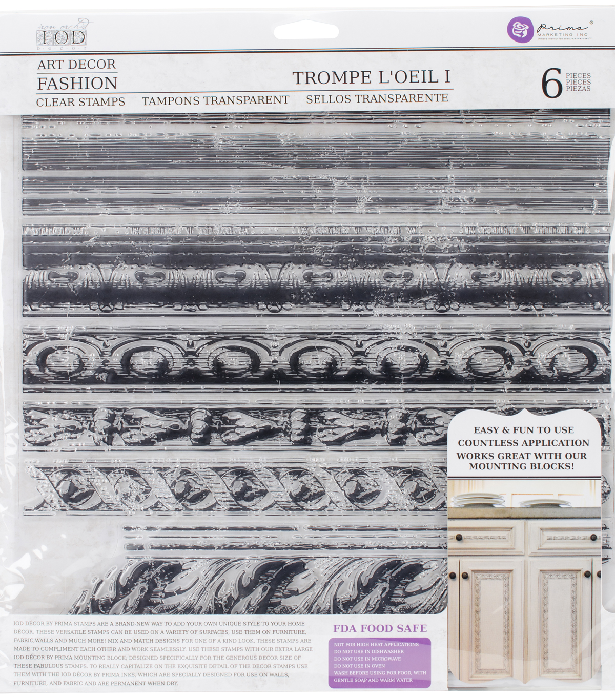 Iron Orchid Designs 6 pk Art Decor Fashion Clear Stamps-Trompe L\u0027oeil 1