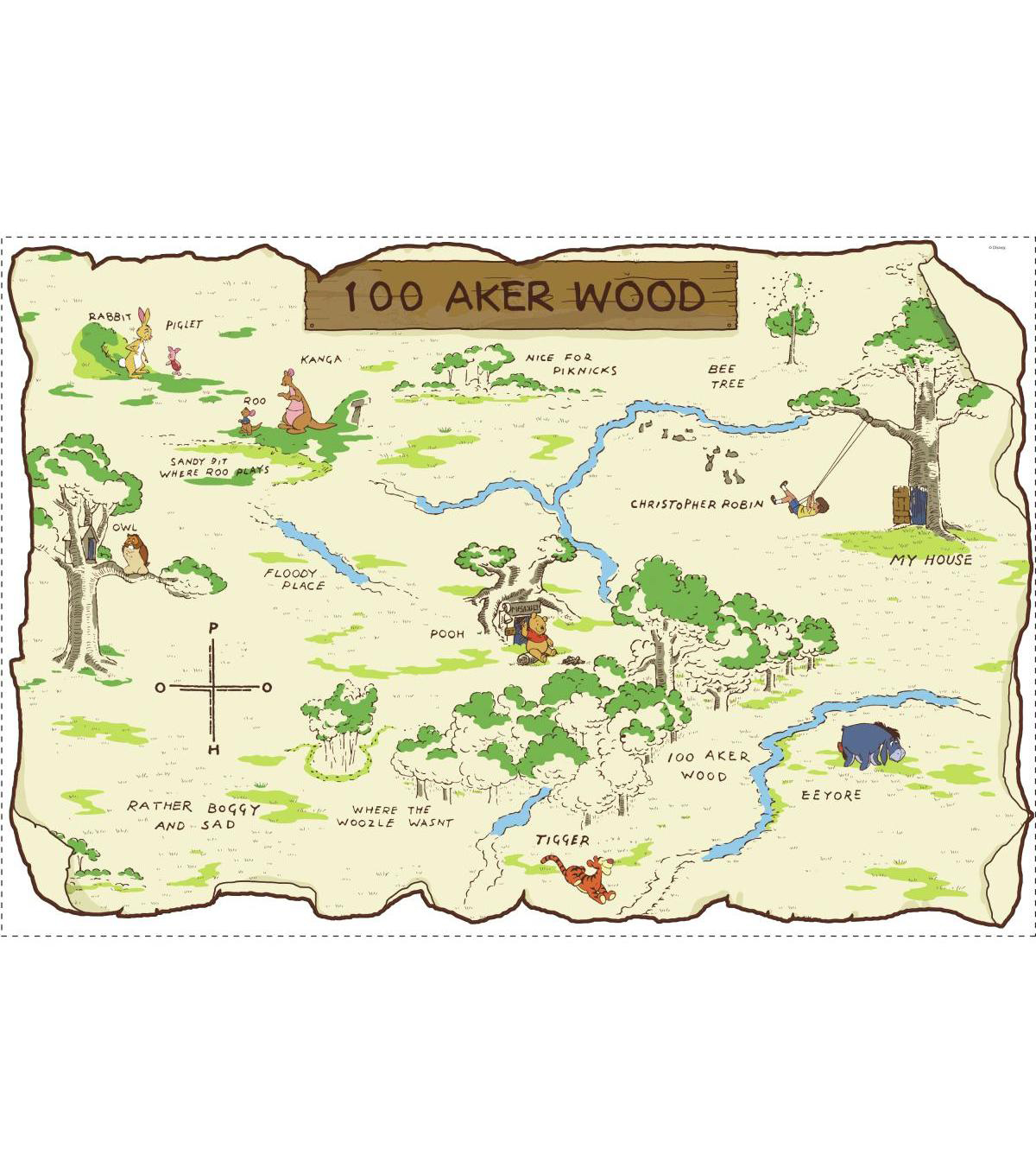 York Wallcoverings Peel & Stick Map-Winnie The Pooh 100 Aker Wood