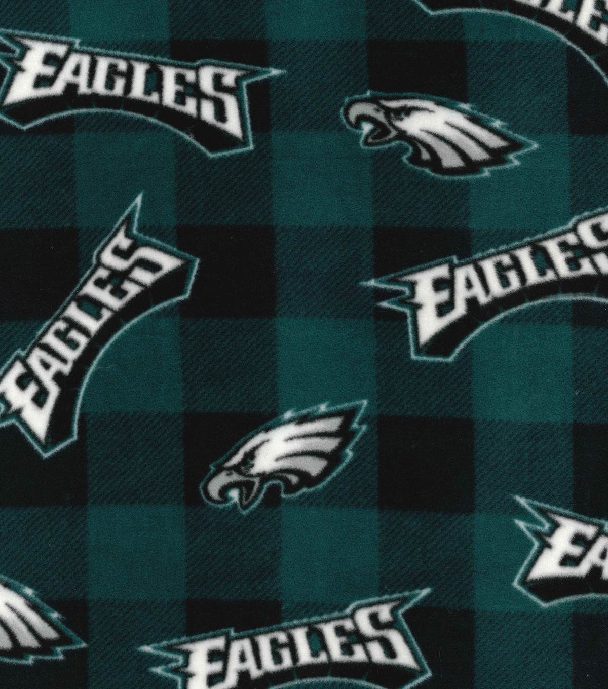 Philadelphia Eagles Fleece Fabric-Buffalo Plaid