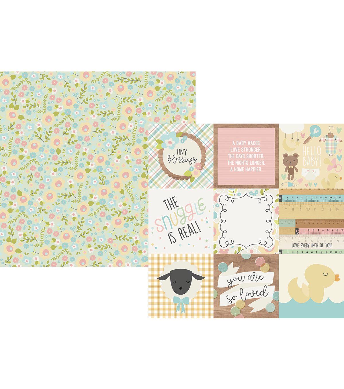 Simple Stories Oh Baby! 25 pk 12\u0027\u0027x12\u0027\u0027 Cardstock with 4\u0027\u0027x4\u0027\u0027 Elements