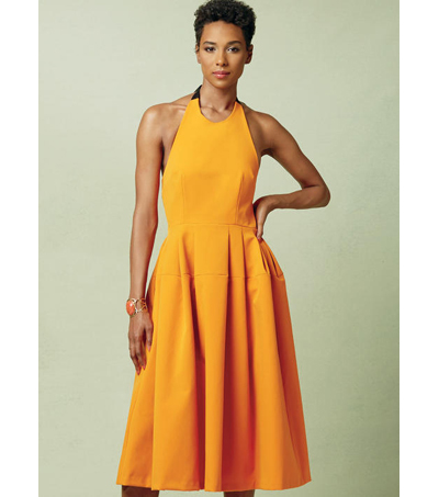 Vogue Pattern V1546 Misses\u0027 Lined Pleated Halter Dress-Size 6-8-10-12-14