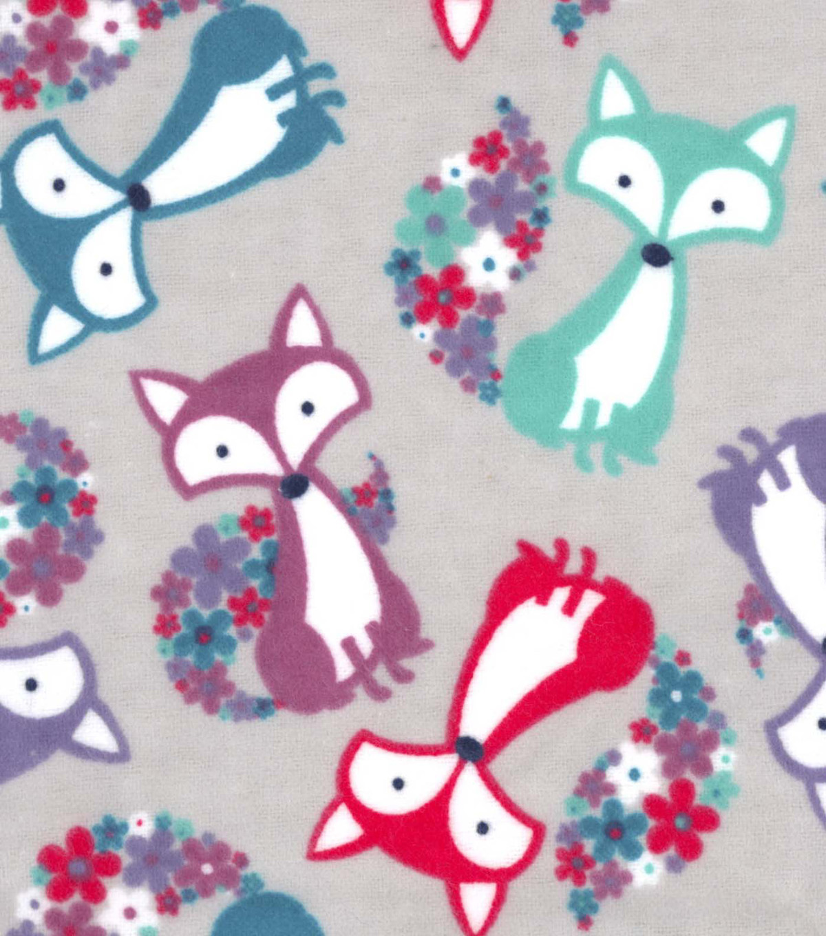 Snuggle Flannel Fabric 42\u0022-Floral Tail Fox