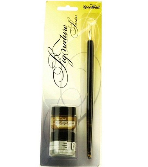 Speedball Signature Series Calligraphy Pen & Ink Set-Gold & Silver