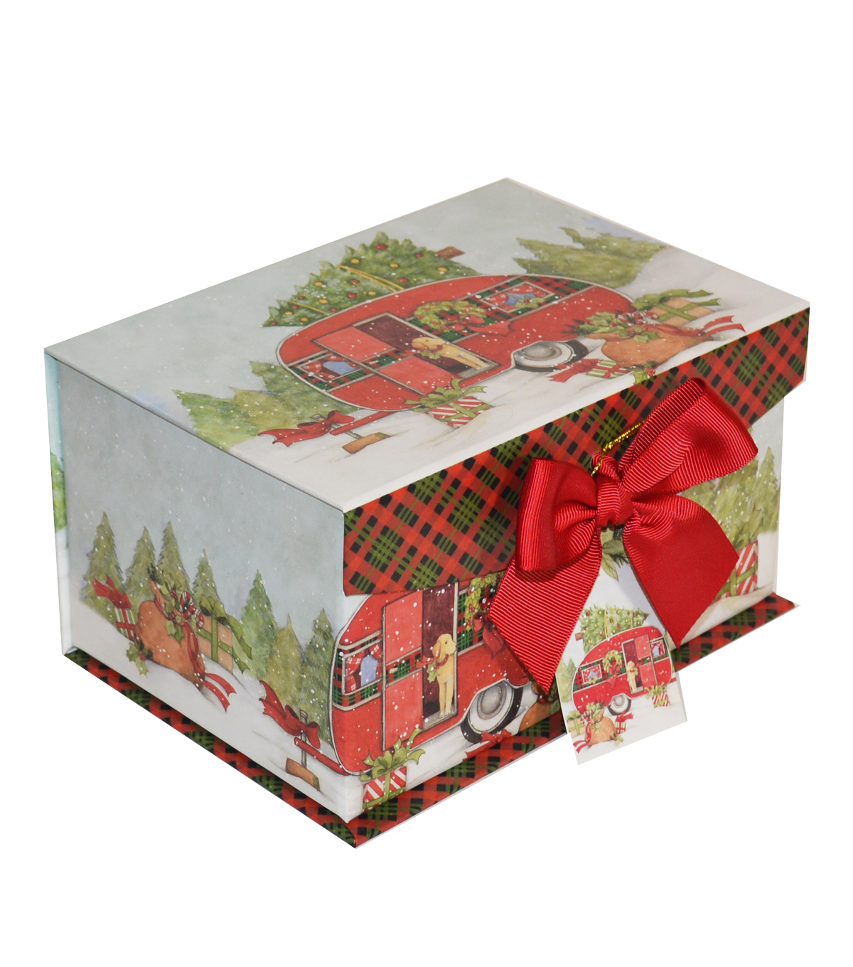 Maker\u0027s Holiday Christmas Small Fliptop Storage Box-Red Truck