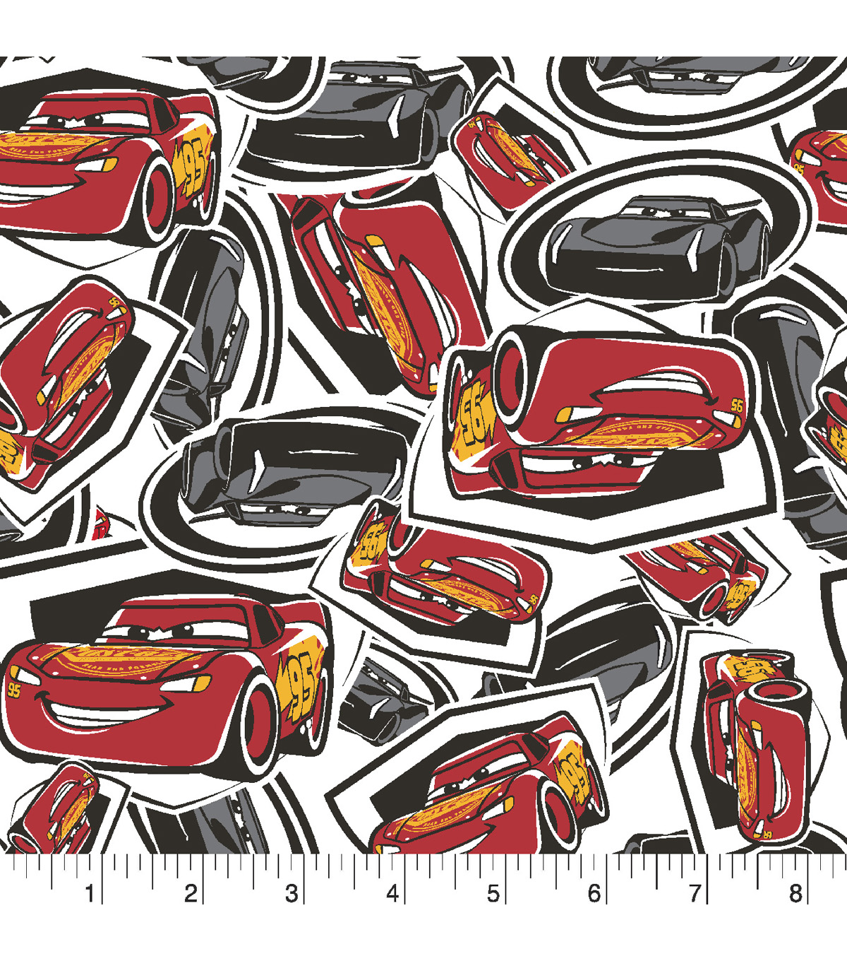 Disney Cars 3 Flannel Fabric -Tossed McQueen & Storm