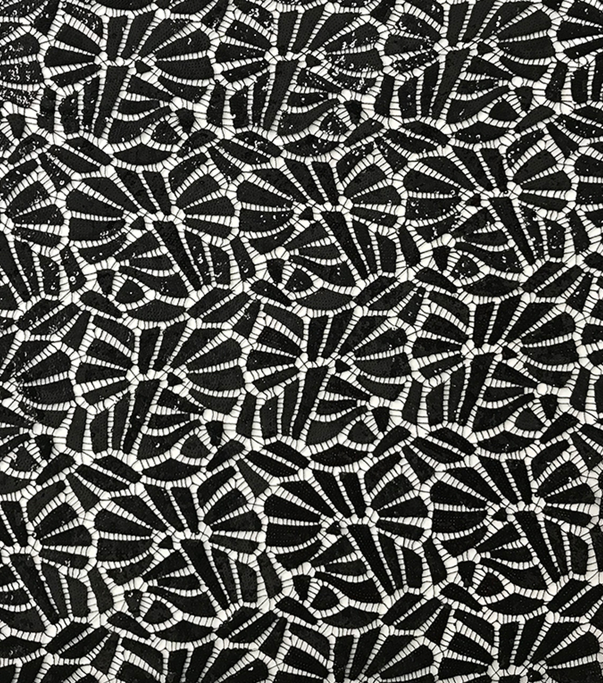 Casa Embellish Netted Sequin Fabric-Black