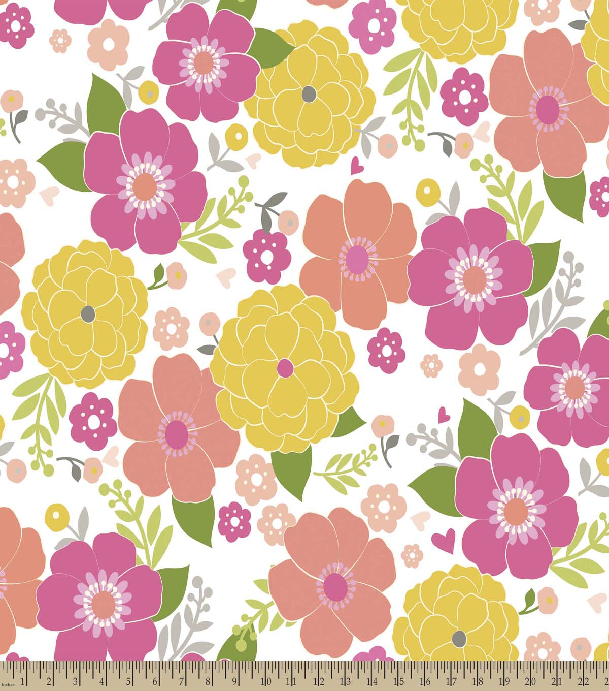 Yellow Pink Flowers Print Fabric