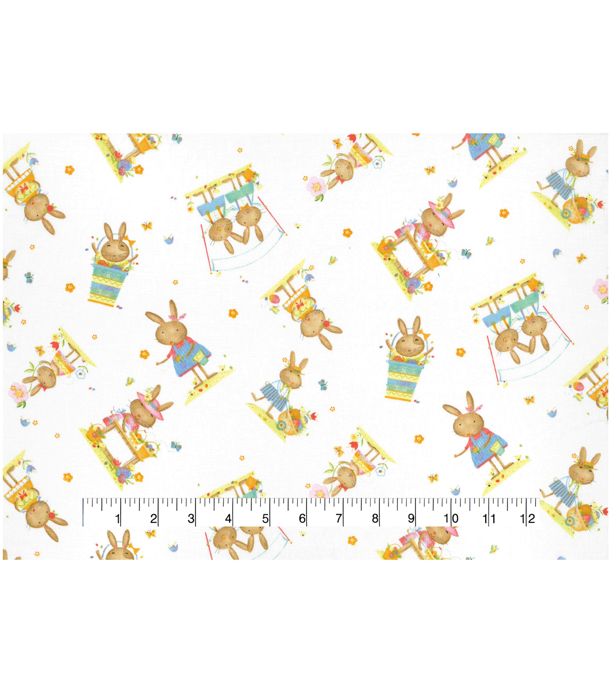 Easter Cotton Fabric 43\u0027\u0027-Playful Bunnies