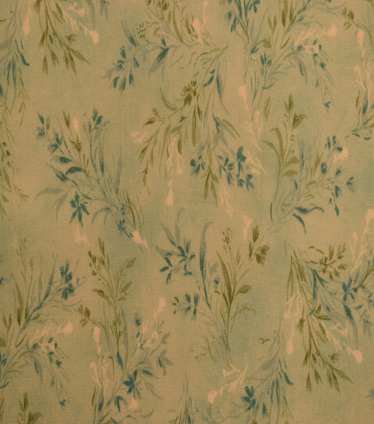 Vintage Premium Cotton Fabric -Teal Whispy Vines
