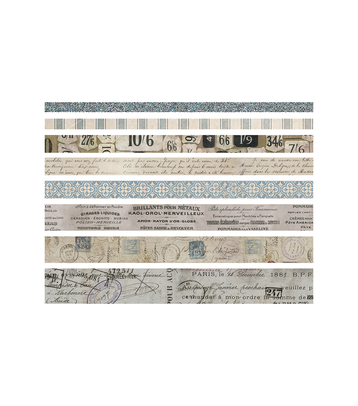 Tim Holtz Idea-ology Pack of 8 French Design Tape