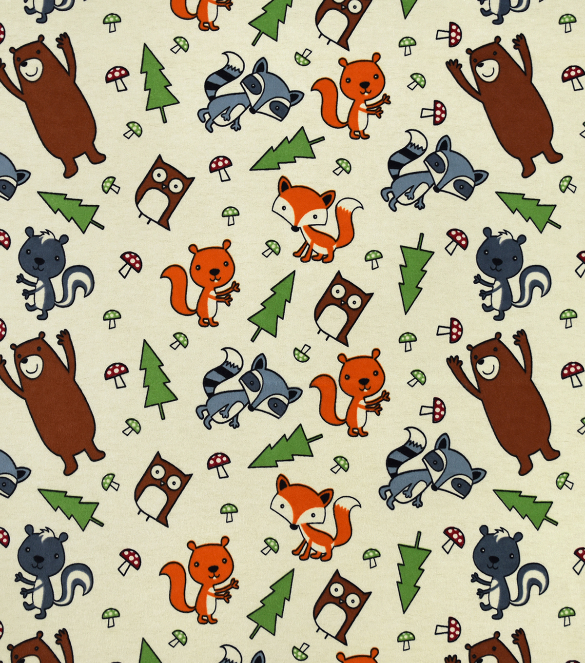 Snuggle Flannel Fabric-Tossed Forest Animals