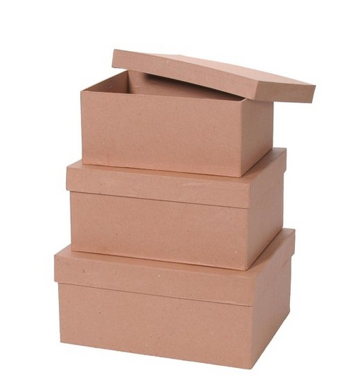 Darice 3 pk Rectangle Paper Mache Boxes