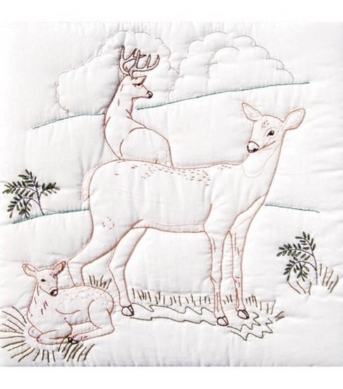 Jack Dempsey Stamped White Quilt Blocks Deer Family