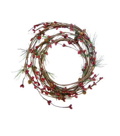 Blooming Holiday Christmas 8\u0027\u0027 Red Berry & Rust Bell Garland