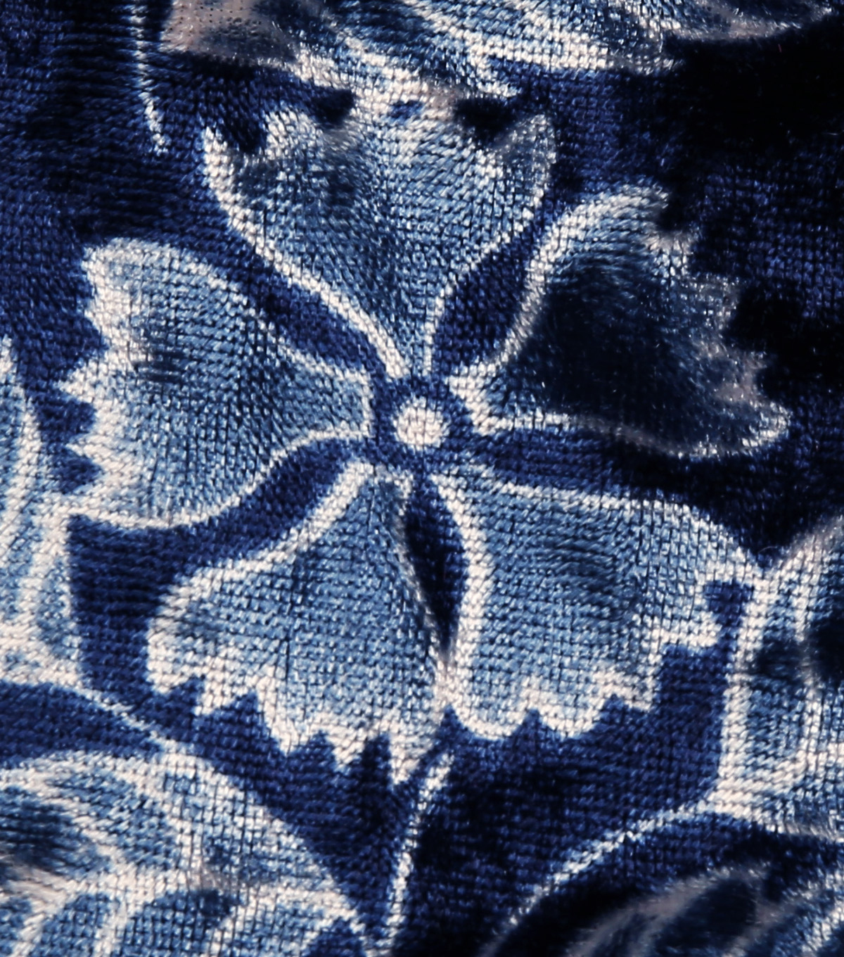 Stretch Panne Velour Fabric 58\u0022-Blues Floral Leaf