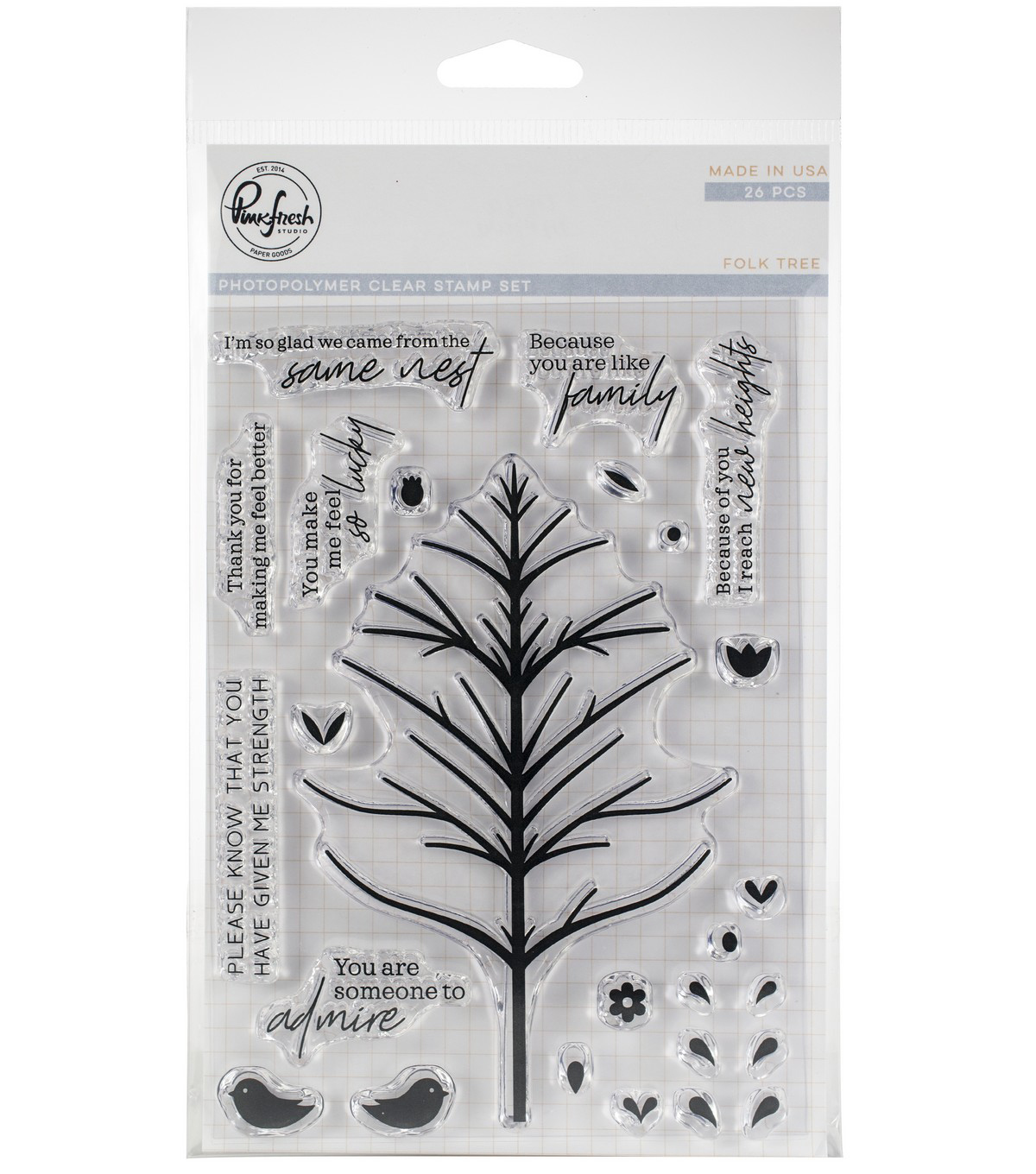 Pinkfresh Studio 26 pk Photopolymer Clear Stamps-Folk Tree