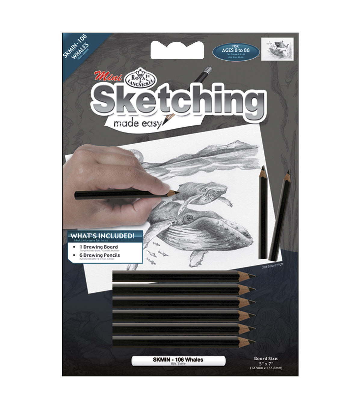 Royal Brush 7\u0022x5\u0022 Sketching Made Easy Kit-Whales