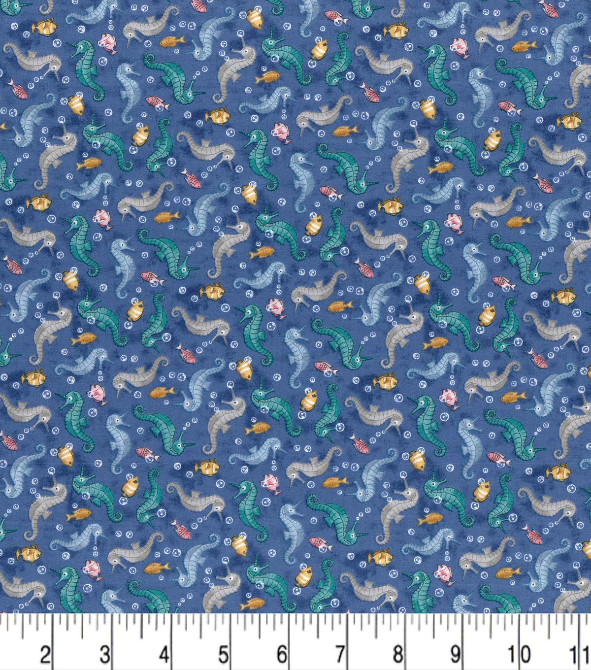 Premium Cotton Fabric-Seahorses with Fish on Blue