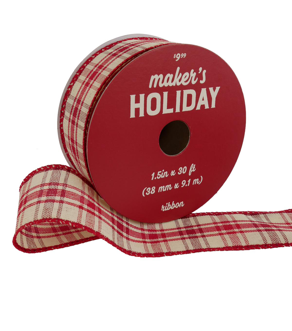 Maker\u0027s Holiday Christmas Ribbon 1.5\u0027\u0027x30\u0027-Red & Ivory Plaid