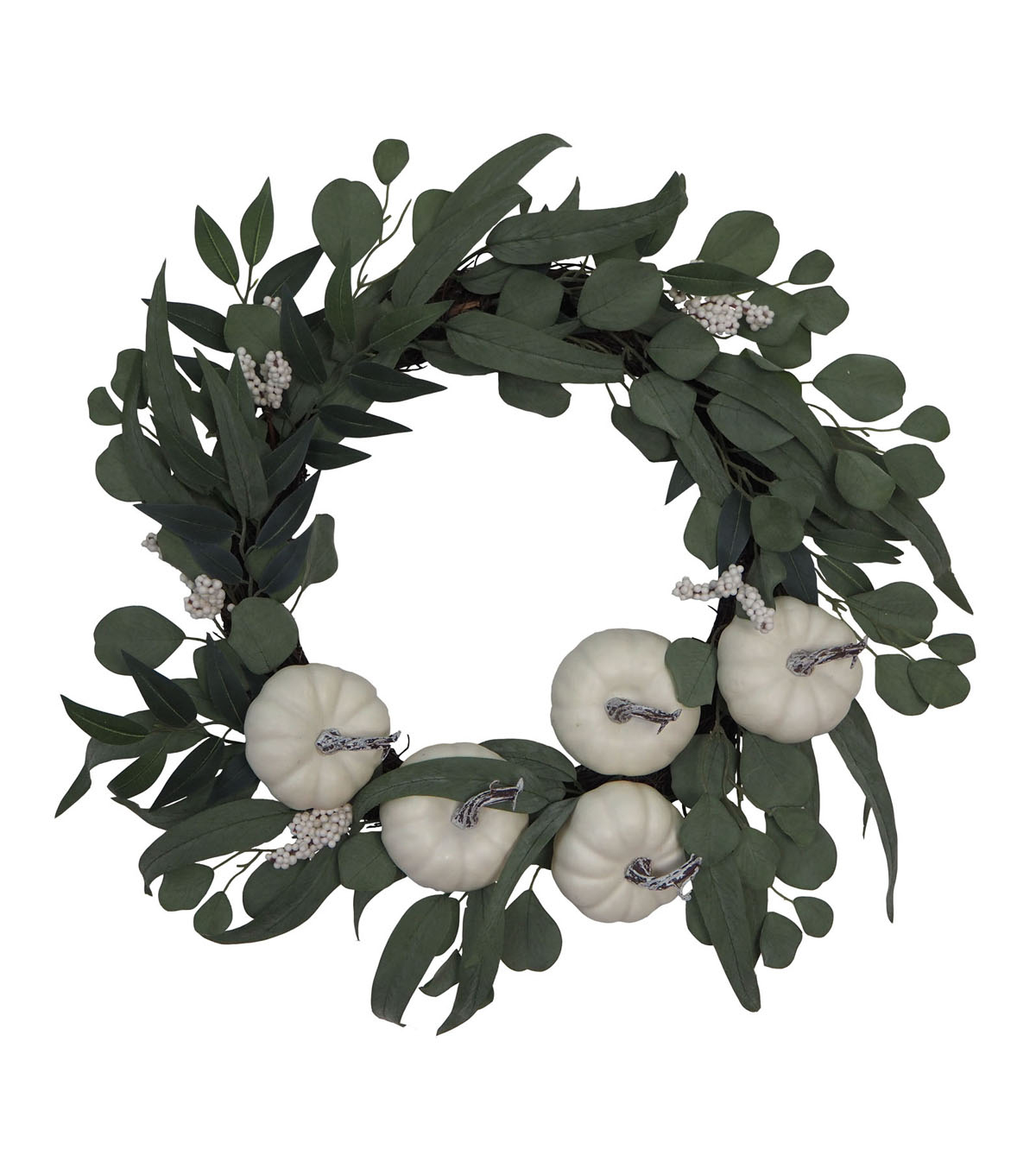 Blooming Autumn Greenery, Pumpkin & Berry Wreath-White