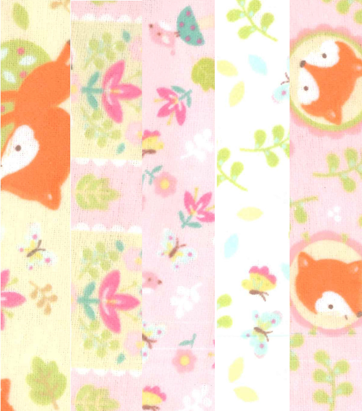 Fat Quarter Bundle Cotton Flannel Fabric 18\u0027\u0027-Floral & Foxes