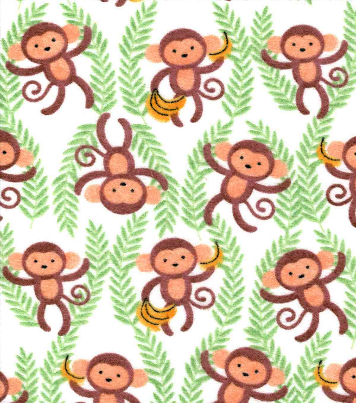 Snuggle Flannel Fabric 42\u0027\u0027-Monkeys & Vines on White