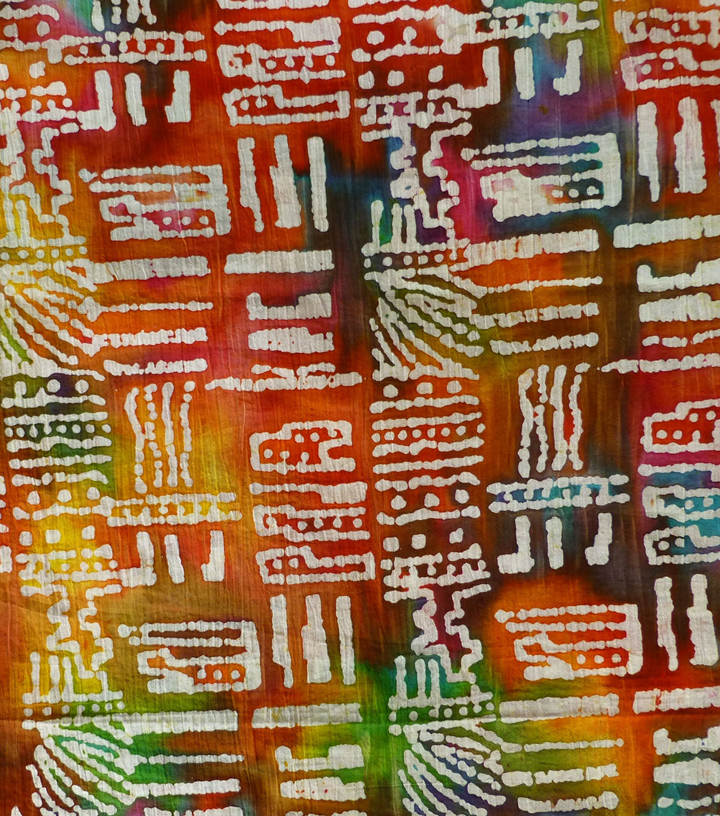 Textured Batik Apparel Fabric-Dots & Dashes on Red, Orange & Green