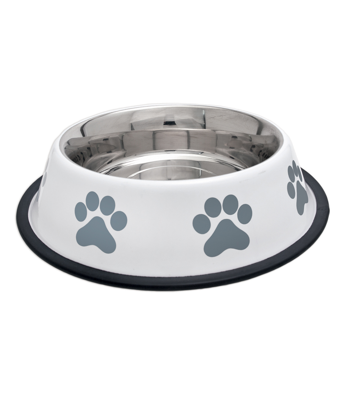 Westminster Pet Products Fashion Steel Gray With White Bowl Paw 32oz