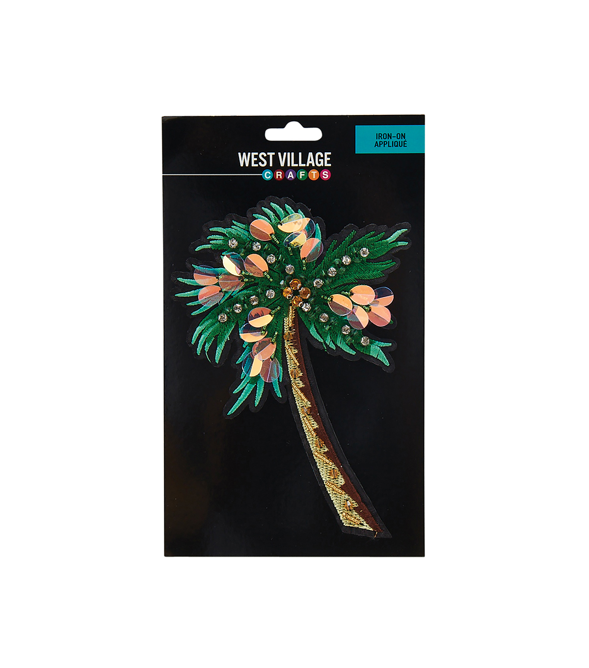 West Village Iron-on Applique-Beaded Sequin Palm Tree