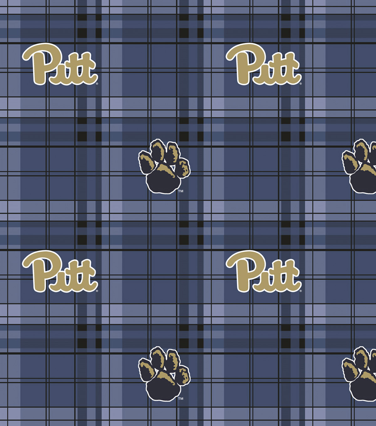 Pittsburgh Panthers Fleece Fabric -Navy Plaid