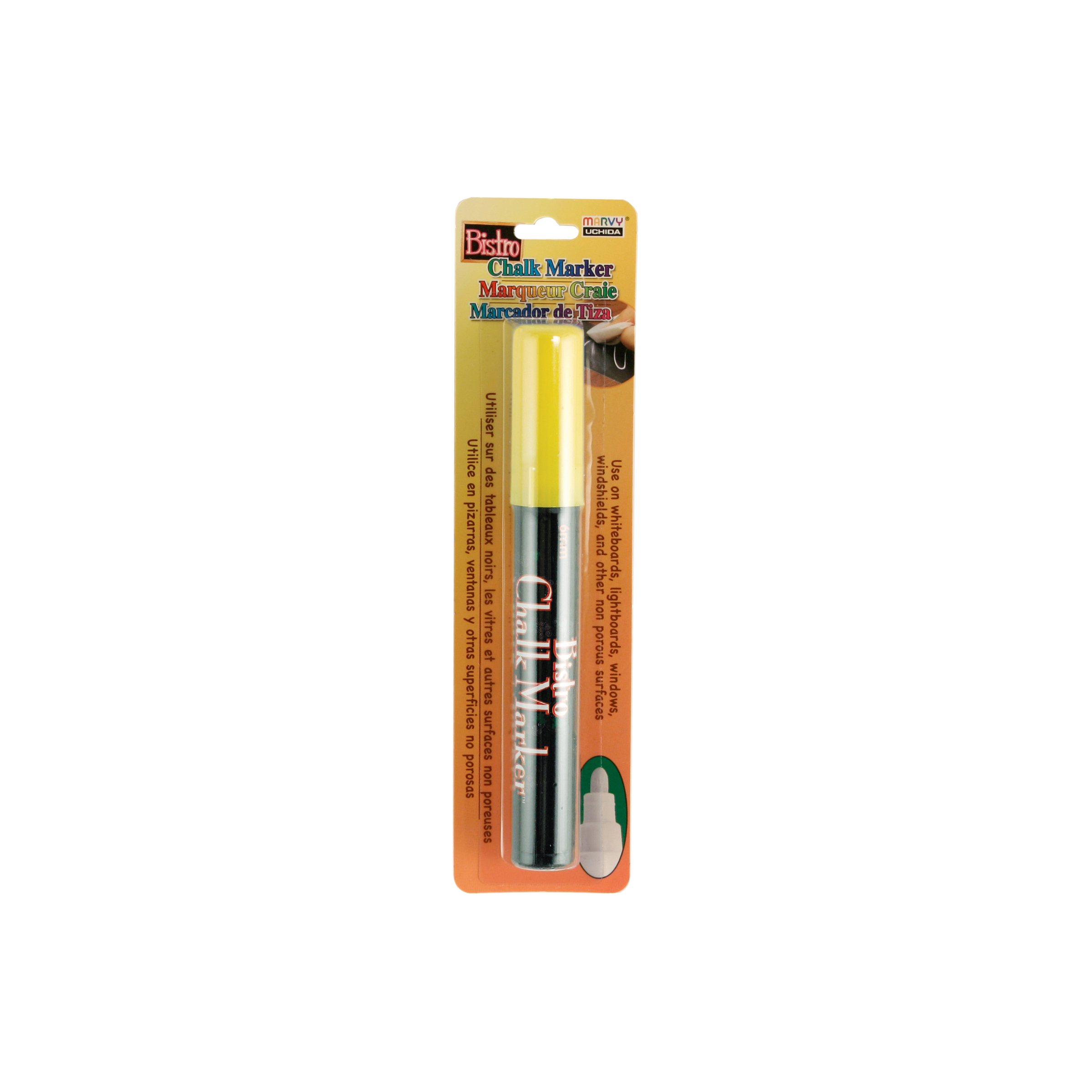 Bistro Chalk Marker 6mm Bullet Tip 1/Pkg-White, Yellow