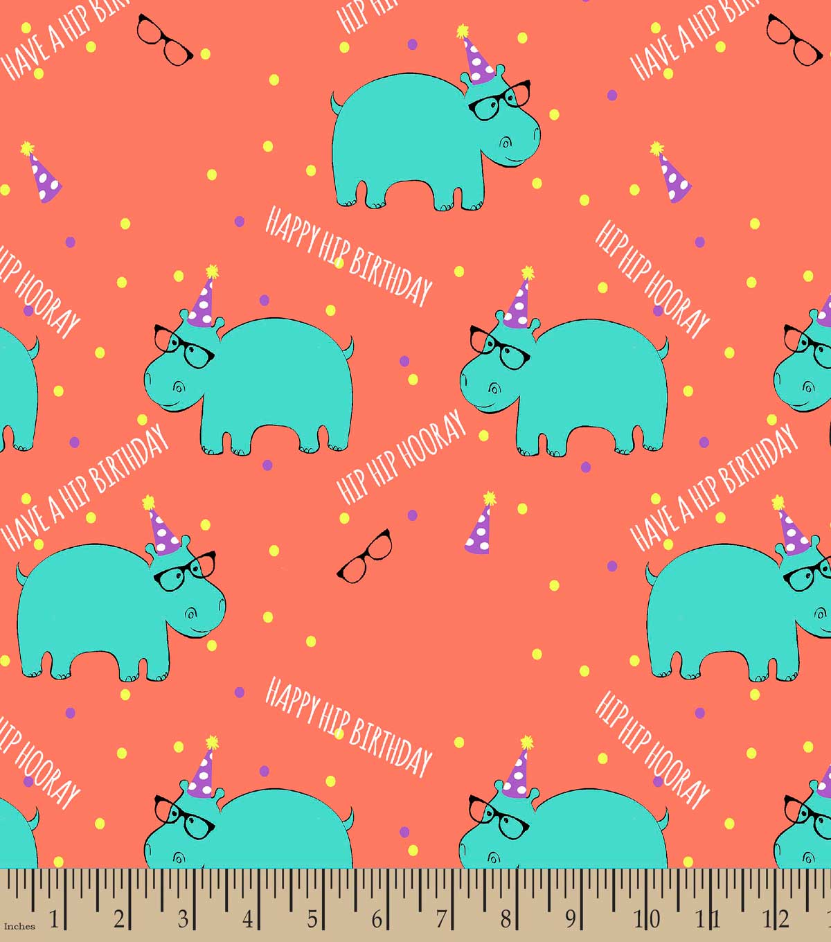 Hip Hip Hooray Hippo Print Fabric